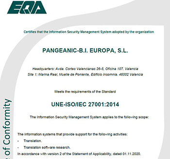 ISO 27001 – Quality Certification. Pangeanic