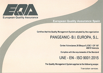 ISO 9001 – Quality Certification. Pangeanic