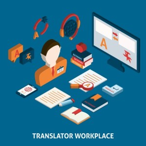 Translator workplace isometric icons composition with computer dictionaries and mobile electronic devices