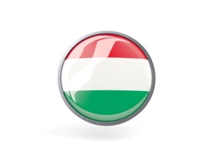 round flag of hungary inside metal framed round icon