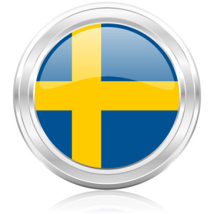 Sweden flag icon inside a silver ring