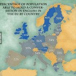 language skills map in the EU: Percentage of Europeans capable of holding a conversation in English
