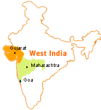 Maharashtra and Goa states of Western India where Marathi is spoken