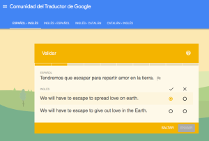 Users can improve google translate output by choosing the best alternative translation