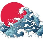 Japanese style waves over a horizon with a red sun