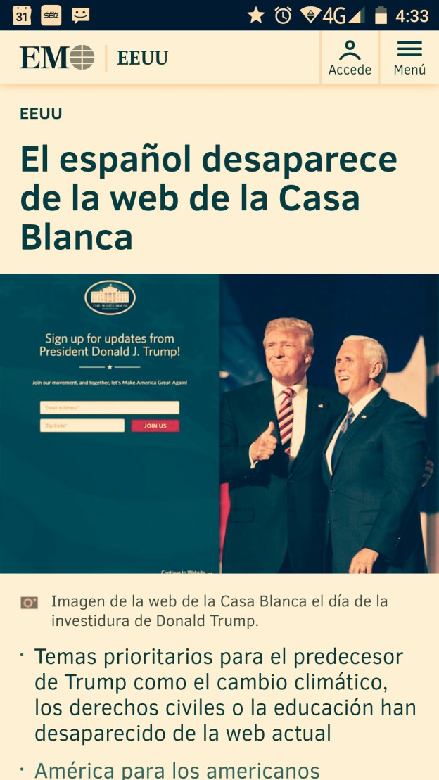 Spanish version of White House website deleted