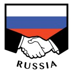 Russian business handshake with Russian flag in the background