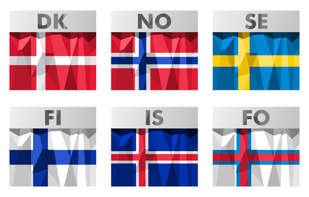 nordic scandinavian flags icons set in polygonal style