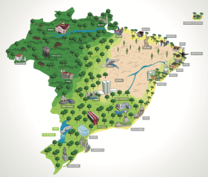 map of Brazil showing green forest areas and major cities with landmarks