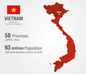 Map of Vietnam with population and provinces data
