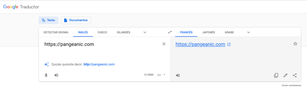 translate a website with Google Translate