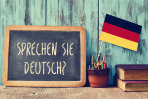 sprechen sie deutsch? do you speak german? on a blackboard