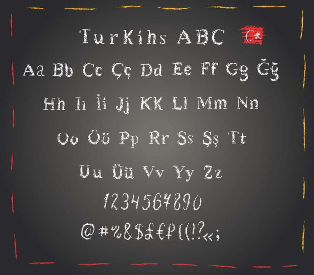 The Turkish language written in Latin alphabet