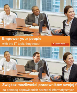 Colored man substituted by white person in microsoft advert with english text and polish text