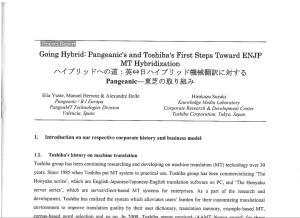 AAMT article Going Hybrid - Pangeanic and Toshiba' sFirst Steps Toward Hybridization